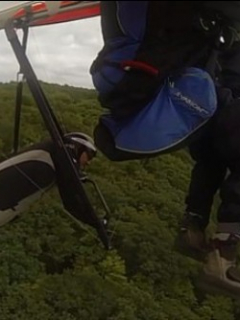 Aladeltista se estrella violentamente contra unos árboles al sufrir choque en vuelo