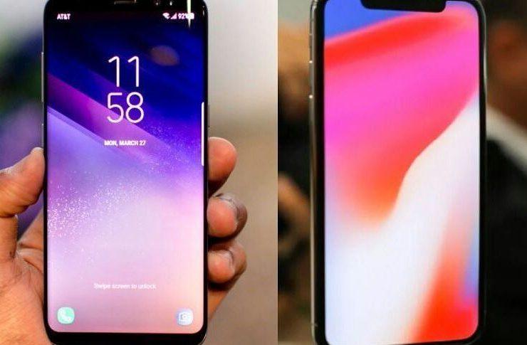 Teléfono Samsung y Teléfono Apple