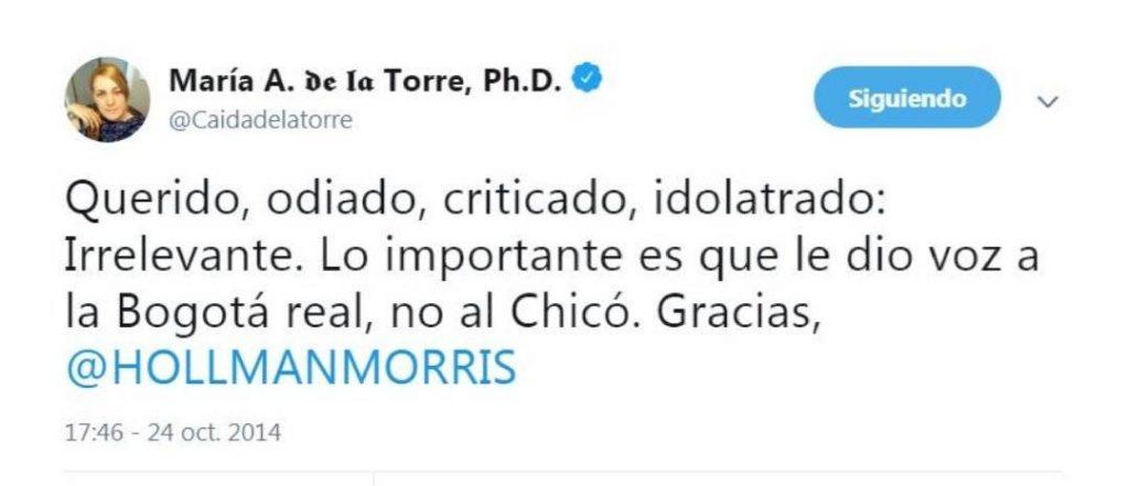 Trino de María Antonia García de la Torre, sobre Hollman Morris