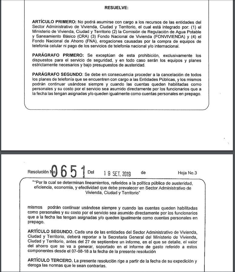 Resolución 0651 Ministerio de Vivienda