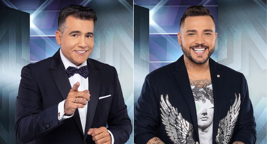 Carlos Calero, presentador, y Jessi Uribe, cantante.