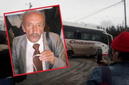 Bus obstaculizando vía y Hernando Chávez