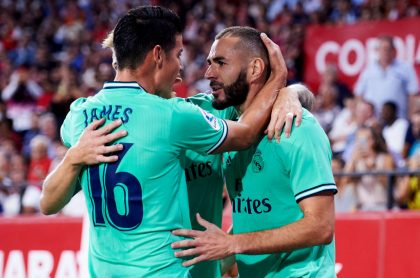 James Rodríguez y Karim Benzema