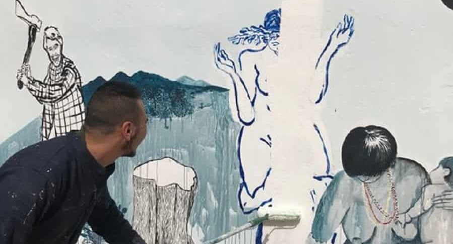 Mural del Salón Nacional de Artistas borrado