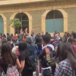 Manifestantes en la Universidad Distrital.