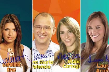 Carolina Cruz, Jota Mario Valencia, Mabel Cartagena y Laura Acuña, presentadores.
