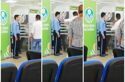 Hombre golpea oficina.