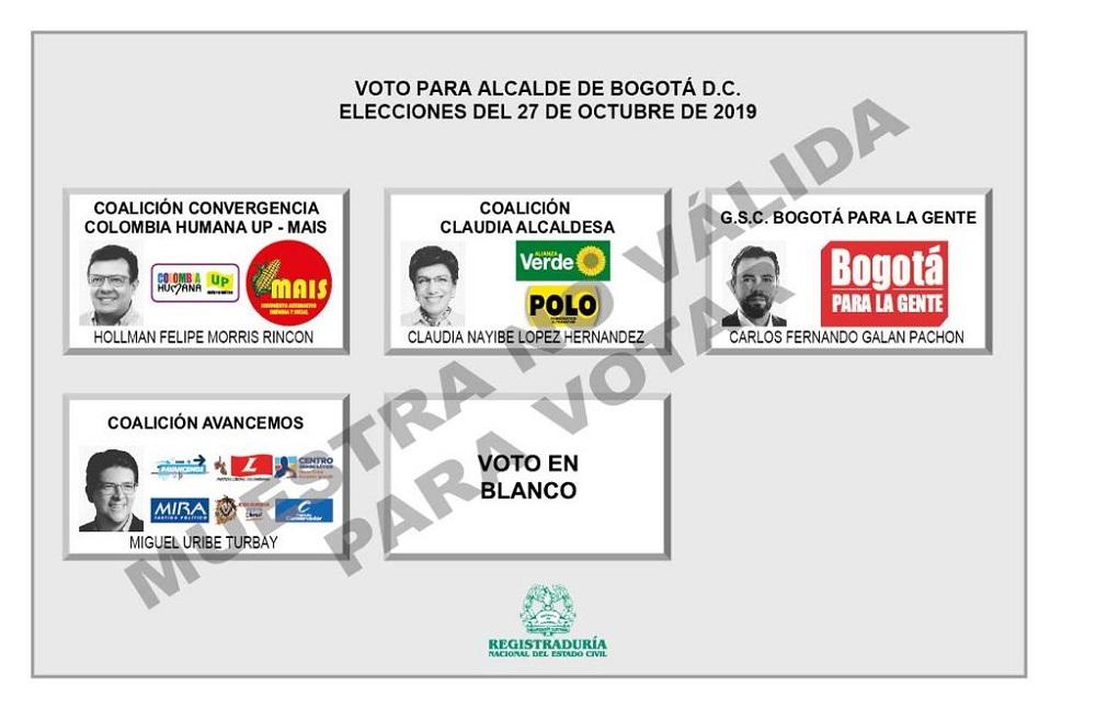 Tarjetón elecciones Alcaldía de Bogotá