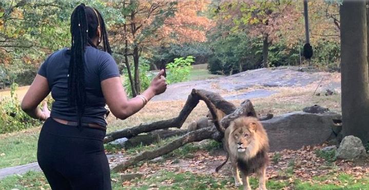 Mujer y un león