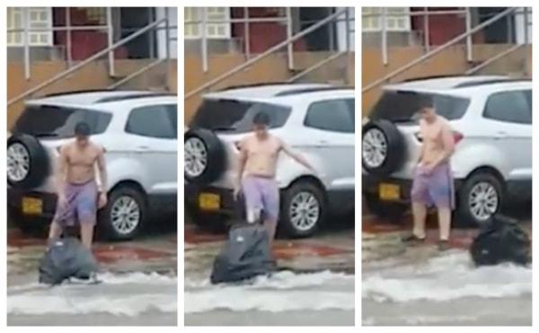 Hombre arrojando basura