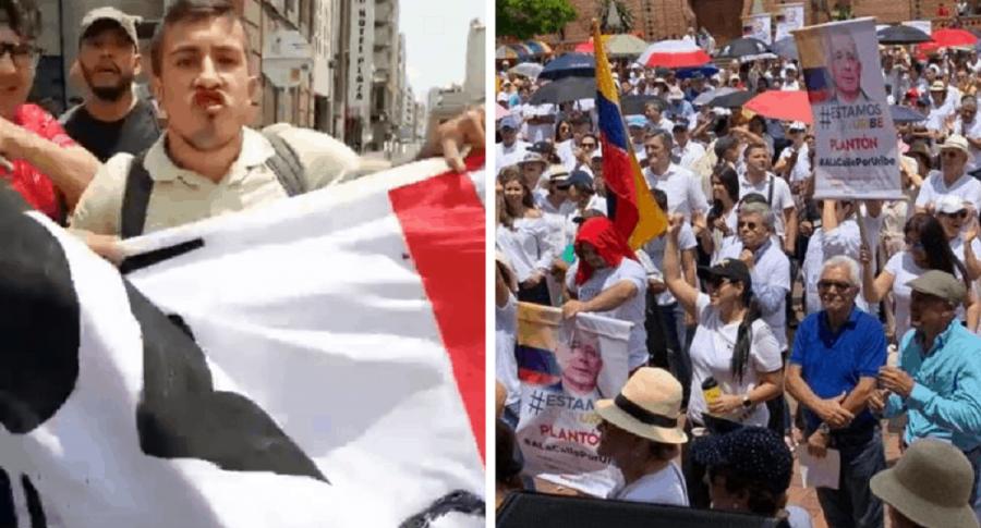 Manifestaciones en Cali a favor y en contra de Álvaro Uribe