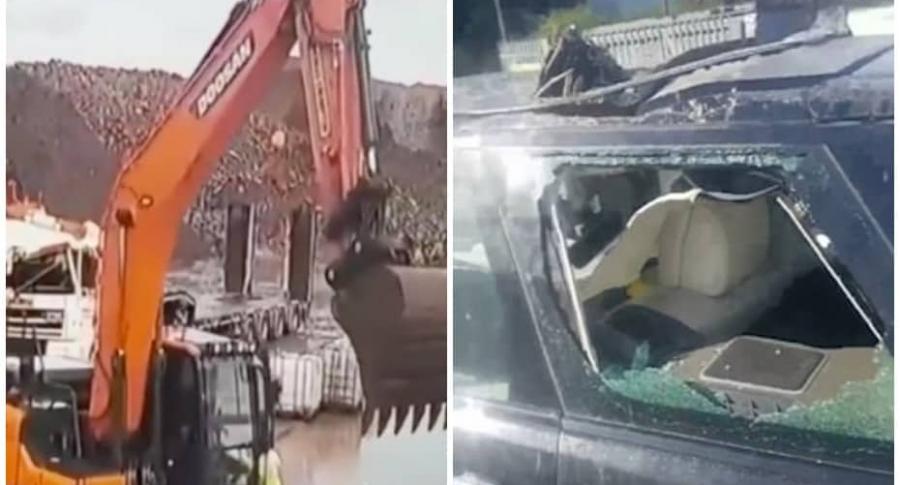 Obrero destruye carro.