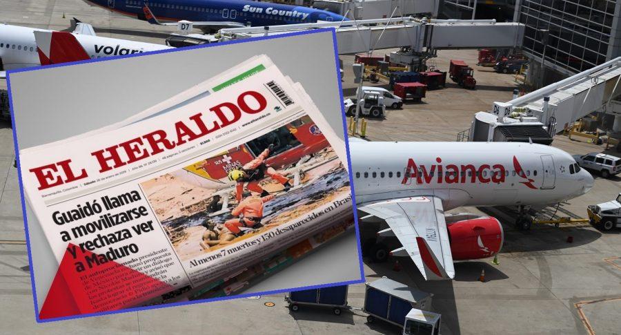 Periódico El Heraldo y avión de Avianca