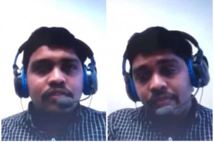 Hombre durante entrevista.
