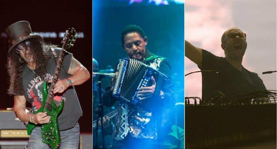 Slash, de Guns N' Roses; Israel Romero, del Binomio de Oro; y Tom Rowlands, de The Chemical Brothers.