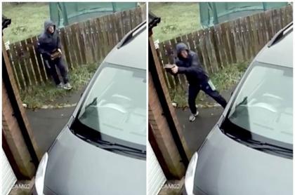 Ladrón con un ladrillo.