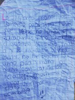 Conmovedora carta de niño de 8 años que se fue de la casa por perder sus útiles escolares