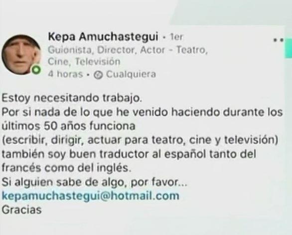 Captura de la publicación de Kepa Amuchistegui