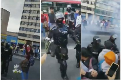 Esmad atacó a estudiantes que estaban con las manos arriba