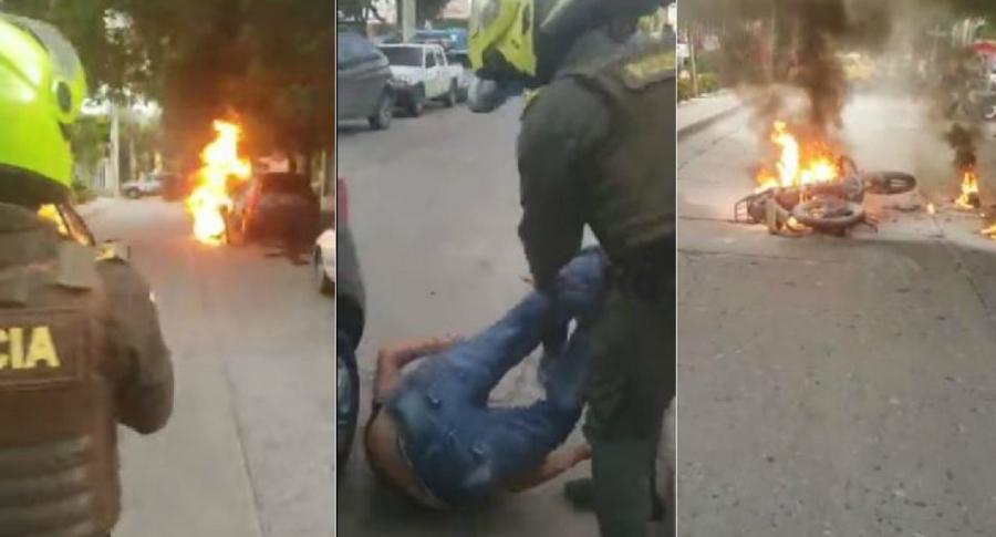 Hombre quema moto en Santa Marta