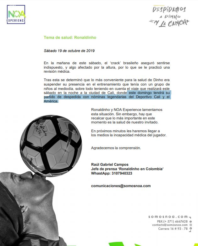 Comunicado Ronaldinho