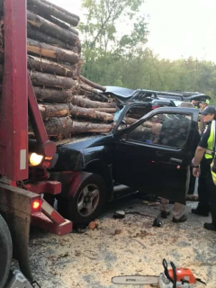 [Fotos] Chocó camión repleto de troncos y se salvó, por centímetros, de la muerte