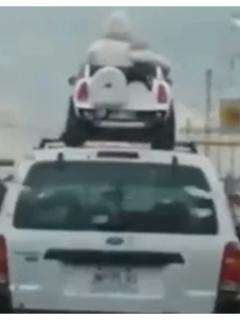 Irresponsable conductor lleva a 2 niños (en carro de juguete) sobre techo de su camioneta