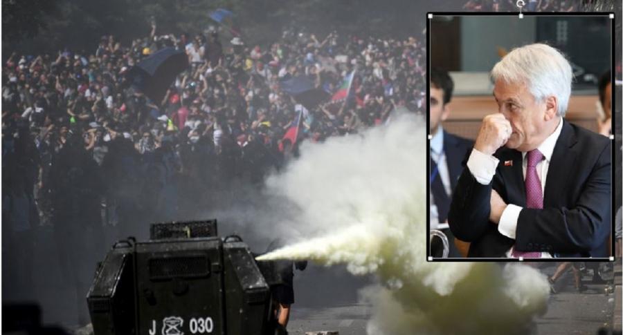 Disturbios en Chile y en recuadro Sebastián Piñera