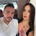 Jessi Uribe, cantante; su exesposa, Sandra Barrios; y su colega Paola Jara.