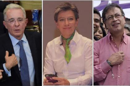 Álvaro Uribe, Claudia López y Gustavo Petro