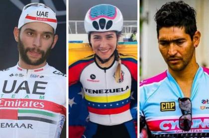 Fernando Gaviria, ciclista venezolana Lilibeth Chacón y entrenador Jhoann Robayo