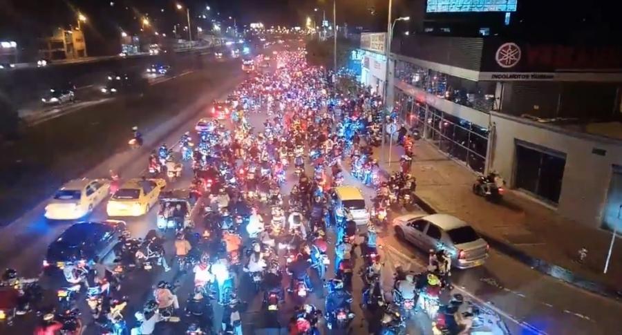 Trancón de motos Bogotá