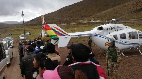 Helicóptero que transportaba a Evo Morales.