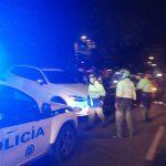 Policía en el lugar del accidente.