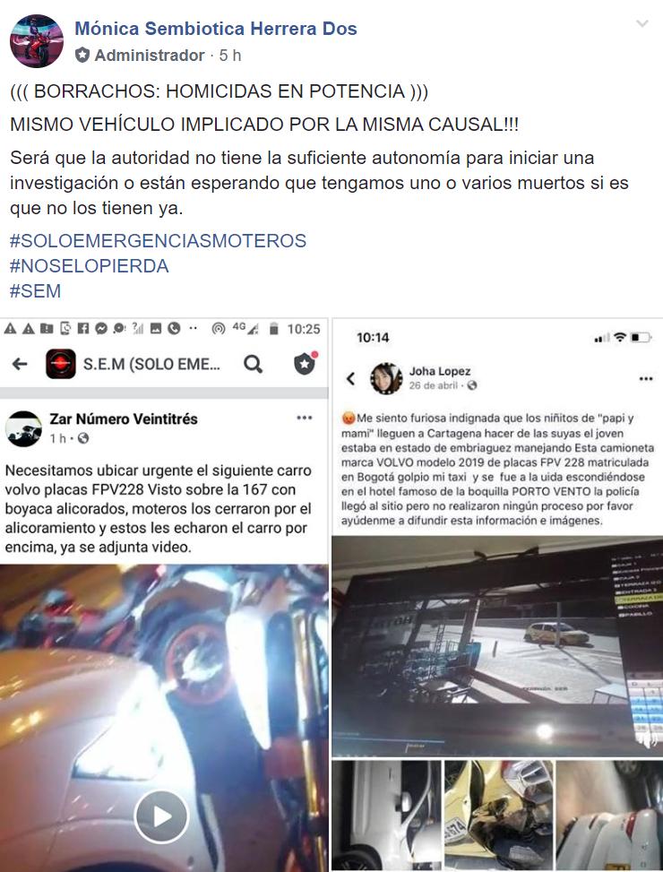 Denuncia de motociclistas en Bogotá