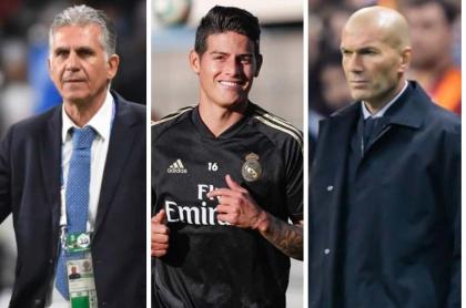 Carlos Queiroz, James Rodríguez y Zinedine Zidane