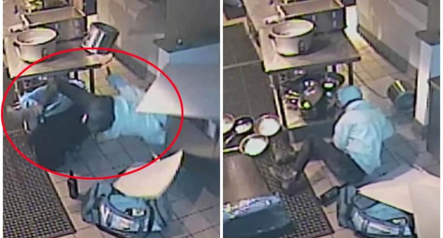 Ladrona cae desde un techo.