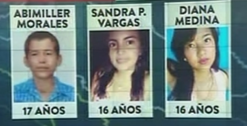 Menores que murieron en bombardeo militar
