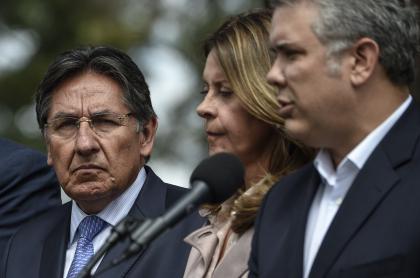 Exfiscal Néstor Humberto Martínez, vicepresidenta Marta Lucía Ramírex y presidente Iván Duque