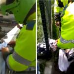 Policías retirando pancartas