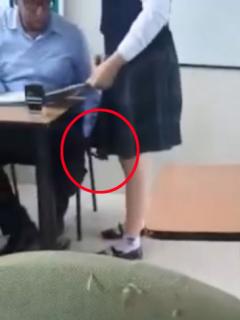 [Video] Captan a profesor grabando bajo la falda de una alumna