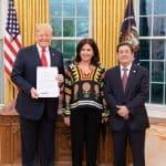 Donald Trump, María Victoria García y Francisco Santos