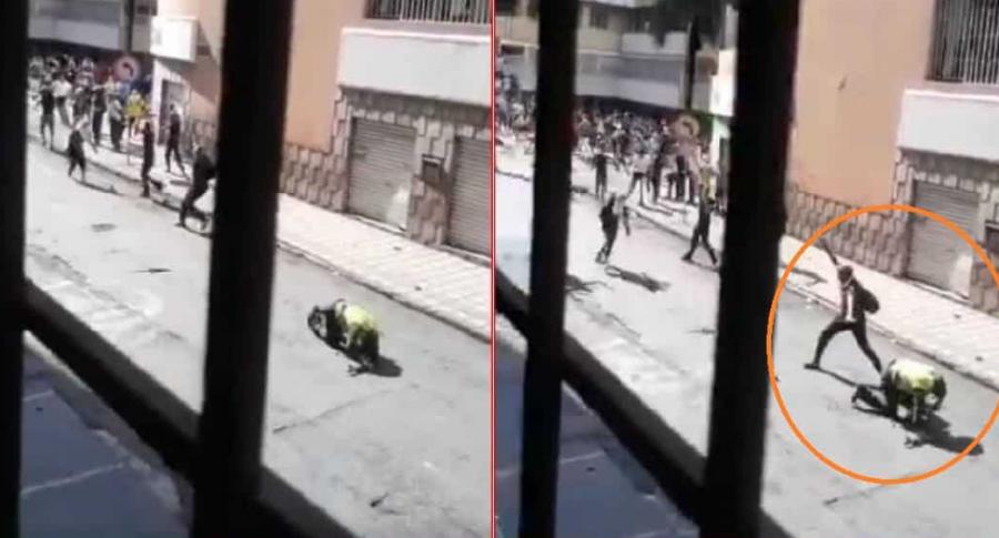 Policía atacado a piedra en Cali