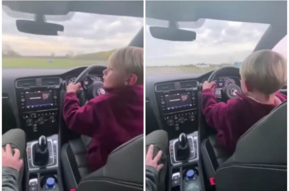 Niño conduciendo.