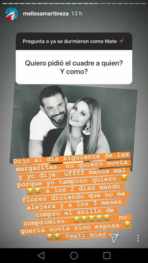 Historia de Instagram Melissa Martínez