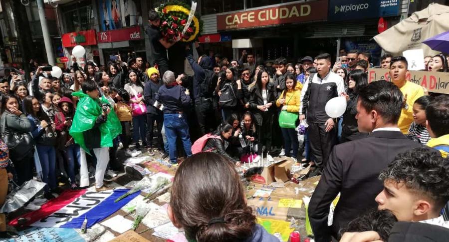 Homenaje a Dilan Cruz en el centro de Bogotá