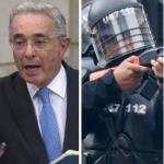 Álvaro Uribe, agente del Esmad y Juan Manuel Santos