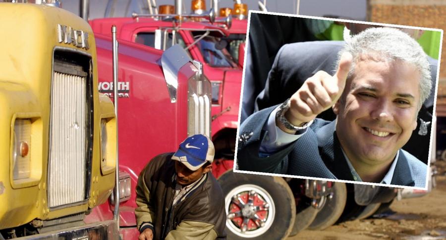 Camiones e Iván Duque