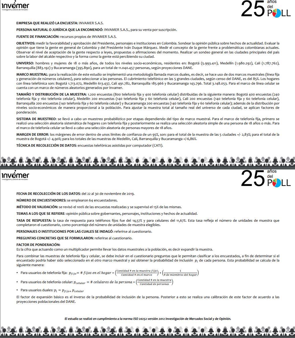 Ficha técnica encuesta Invamer diciembre 2019