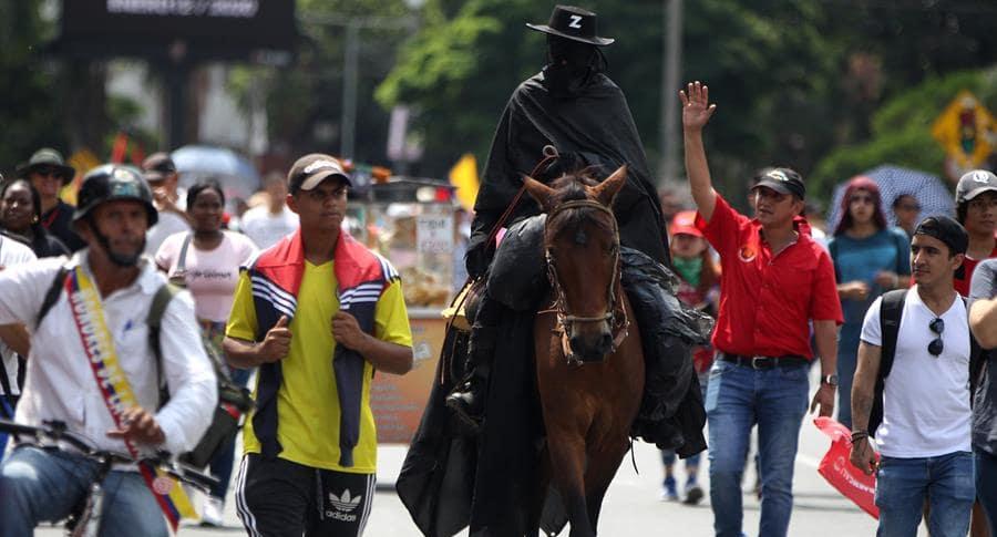 El Zorro estuvo en Cali para el paro nacional